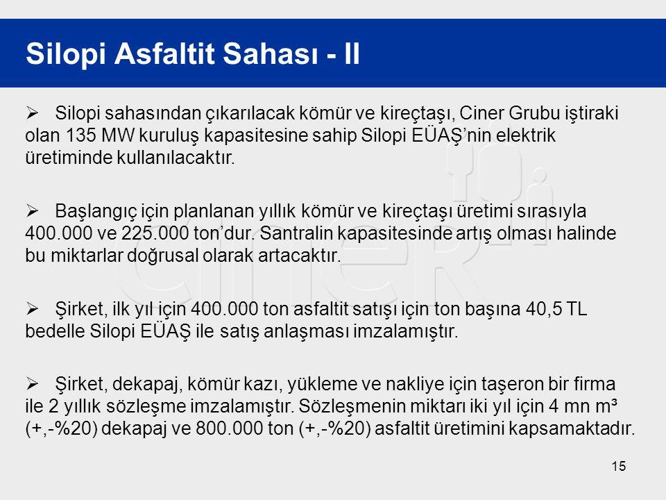 15 Silopi Asfaltit Sahası - II  Silopi sahasından çıkarılacak kömür ve kireçtaşı, Ciner Grubu iştiraki olan 135 MW kuruluş kapasitesine sahip Silopi