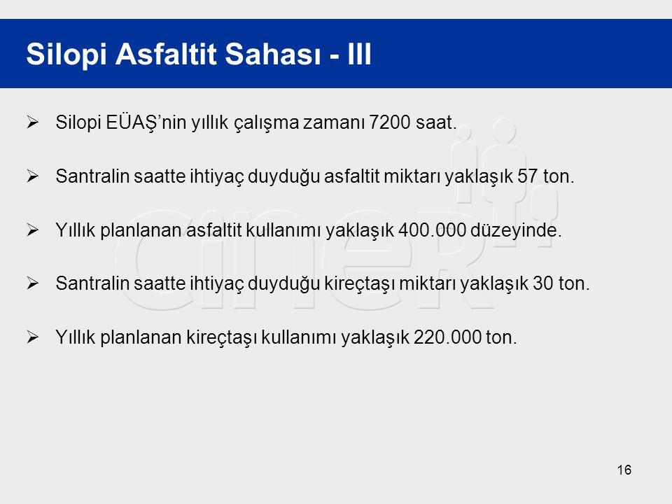 16 Silopi Asfaltit Sahası - III  Silopi EÜAŞ'nin yıllık çalışma zamanı 7200 saat.  Santralin saatte ihtiyaç duyduğu asfaltit miktarı yaklaşık 57 ton