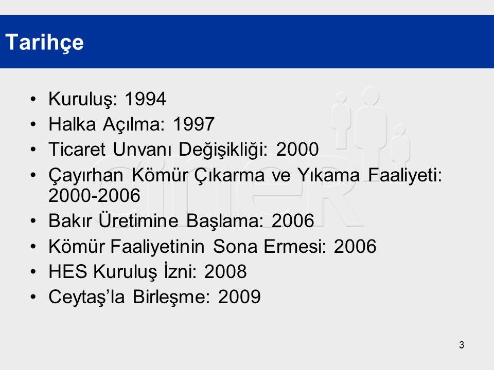 3 •Kuruluş: 1994 •Halka Açılma: 1997 •Ticaret Unvanı Değişikliği: 2000 •Çayırhan Kömür Çıkarma ve Yıkama Faaliyeti: 2000-2006 •Bakır Üretimine Başlama