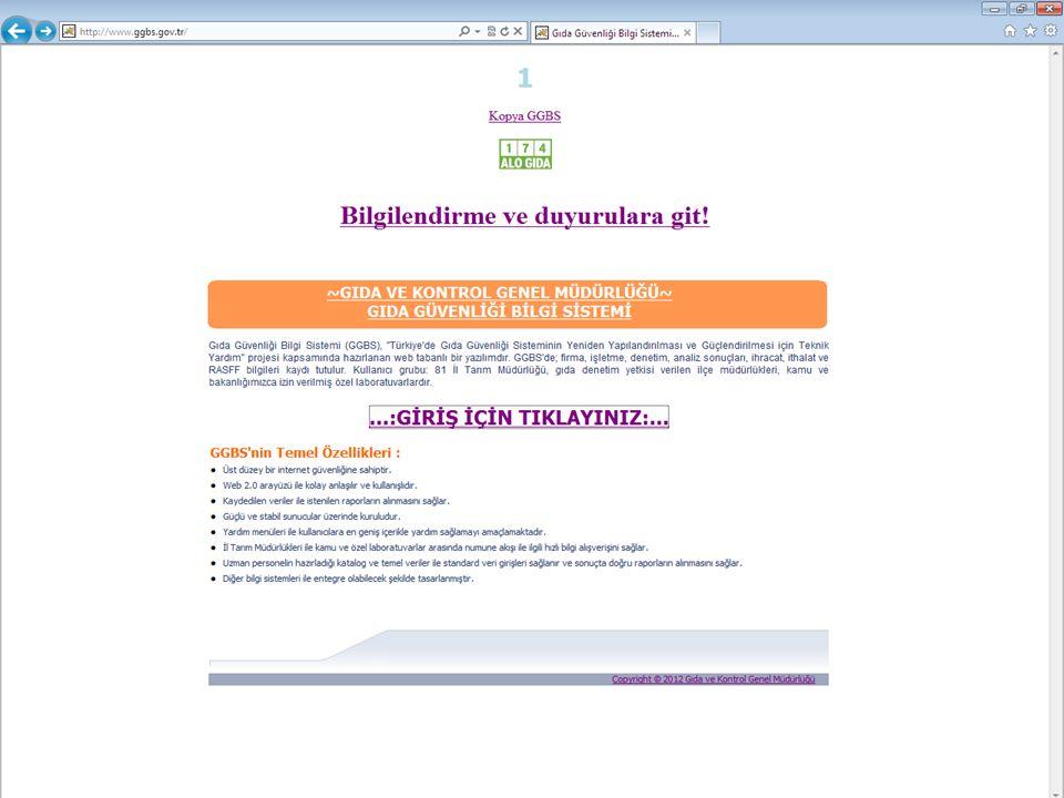 Gıda Tarım ve Hayvancılık Bakanlığı Gıda ve Kontrol Genel Müdürlüğü GKGMBSK-ED2011