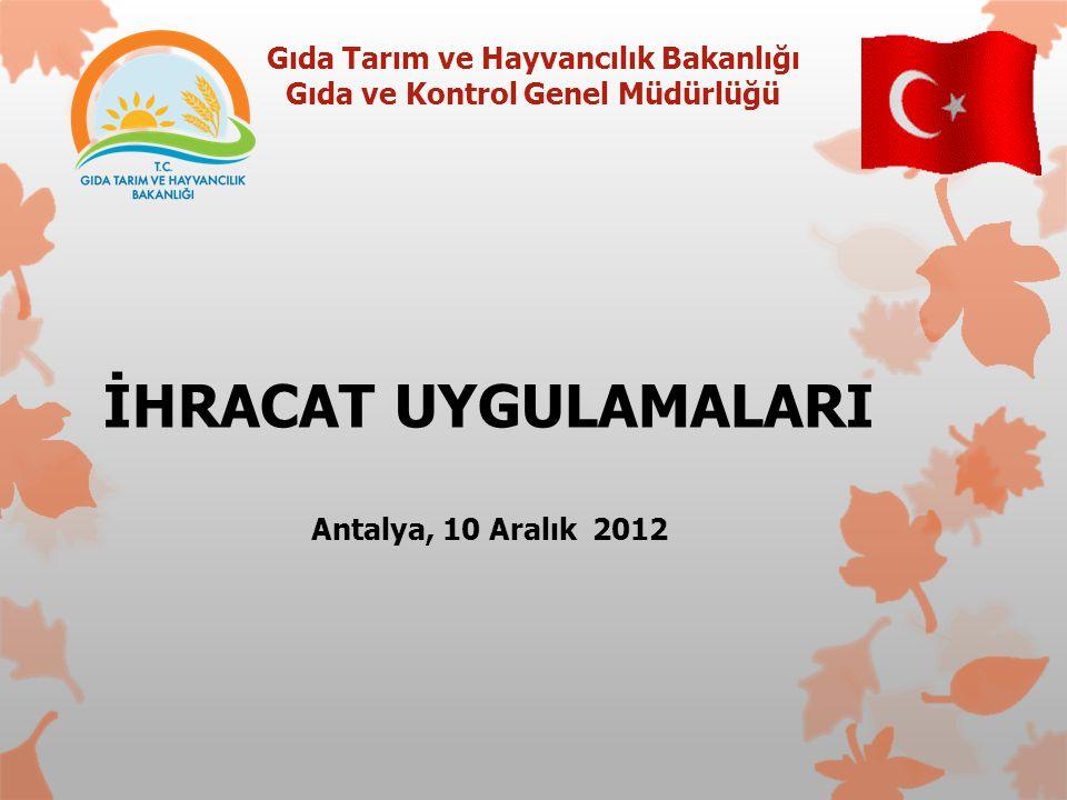 Gıda Tarım ve Hayvancılık Bakanlığı Gıda ve Kontrol Genel Müdürlüğü İHRACAT UYGULAMALARI Antalya, 10 Aralık 2012