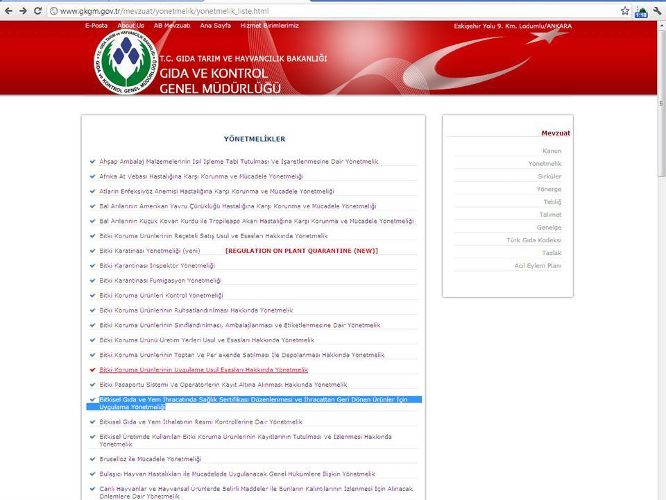 Gıda Tarım ve Hayvancılık Bakanlığı Gıda ve Kontrol Genel Müdürlüğü GKGMBSK-ED2012 İHTACAT KONTROL SIKLIĞI