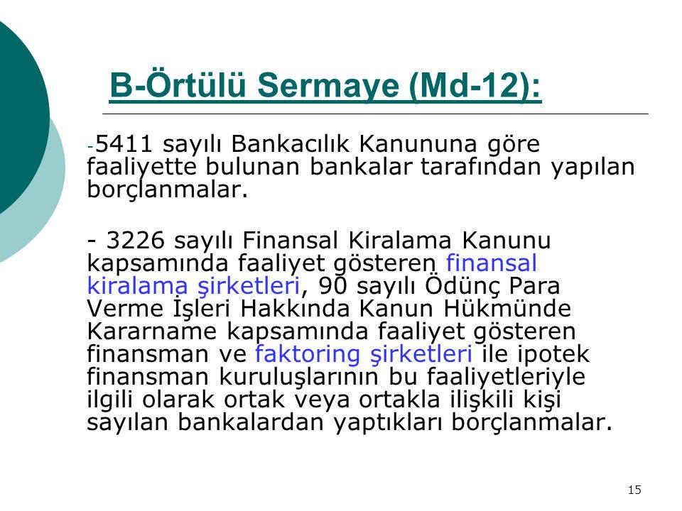 15 - 5411 sayılı Bankacılık Kanununa göre faaliyette bulunan bankalar tarafından yapılan borçlanmalar. - 3226 sayılı Finansal Kiralama Kanunu kapsamın