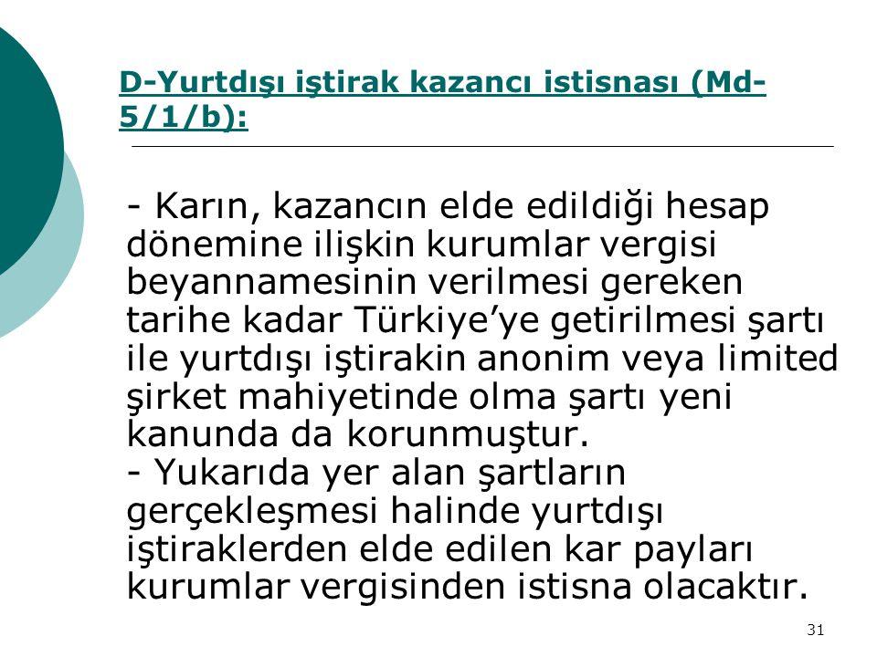 31 - Karın, kazancın elde edildiği hesap dönemine ilişkin kurumlar vergisi beyannamesinin verilmesi gereken tarihe kadar Türkiye'ye getirilmesi şartı