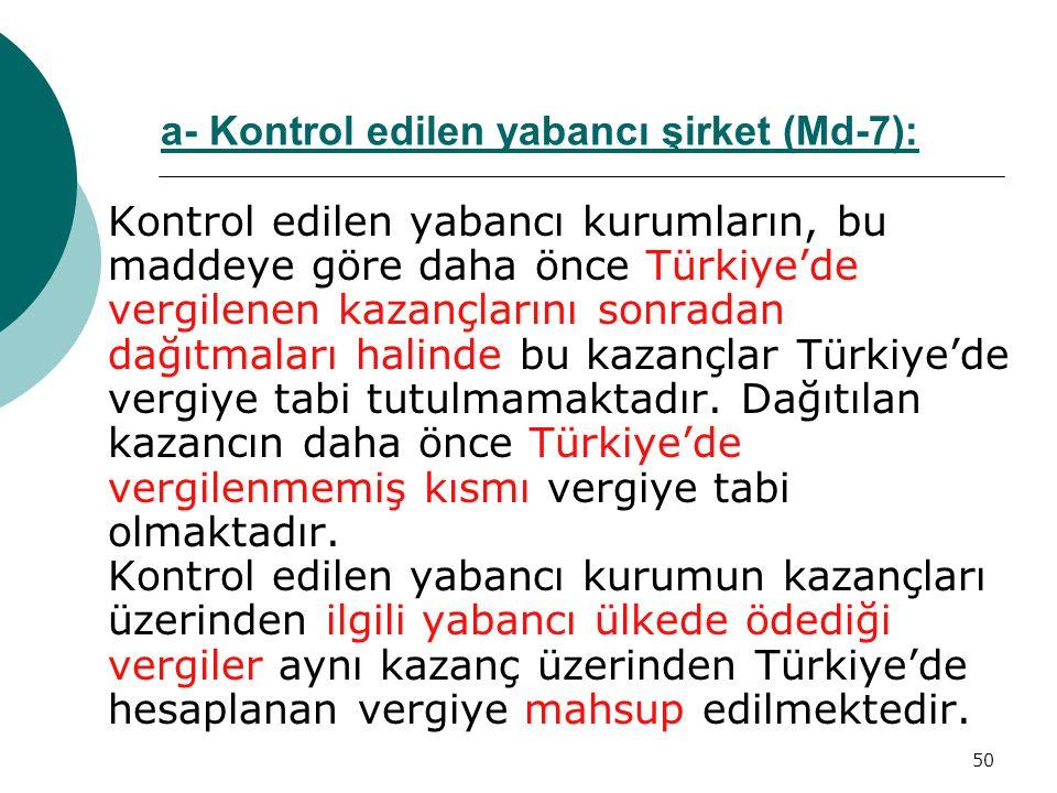 50 Kontrol edilen yabancı kurumların, bu maddeye göre daha önce Türkiye'de vergilenen kazançlarını sonradan dağıtmaları halinde bu kazançlar Türkiye'd