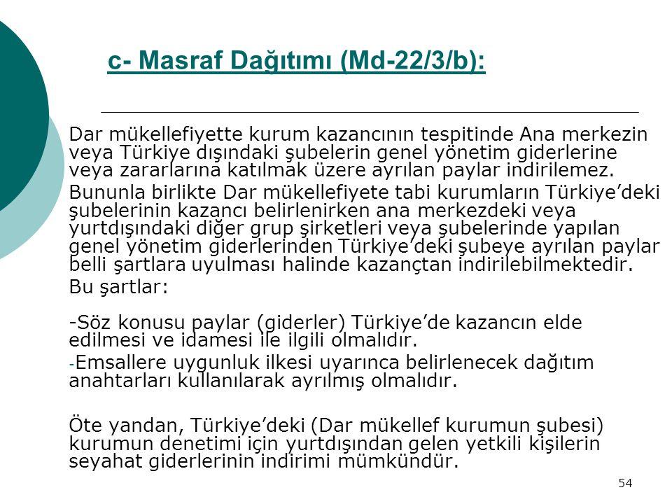 54 c- Masraf Dağıtımı (Md-22/3/b):Md-22/3/b Dar mükellefiyette kurum kazancının tespitinde Ana merkezin veya Türkiye dışındaki şubelerin genel yönetim