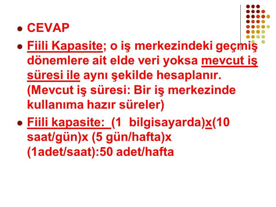  CEVAP  Fiili Kapasite; o iş merkezindeki geçmiş dönemlere ait elde veri yoksa mevcut iş süresi ile aynı şekilde hesaplanır. (Mevcut iş süresi: Bir