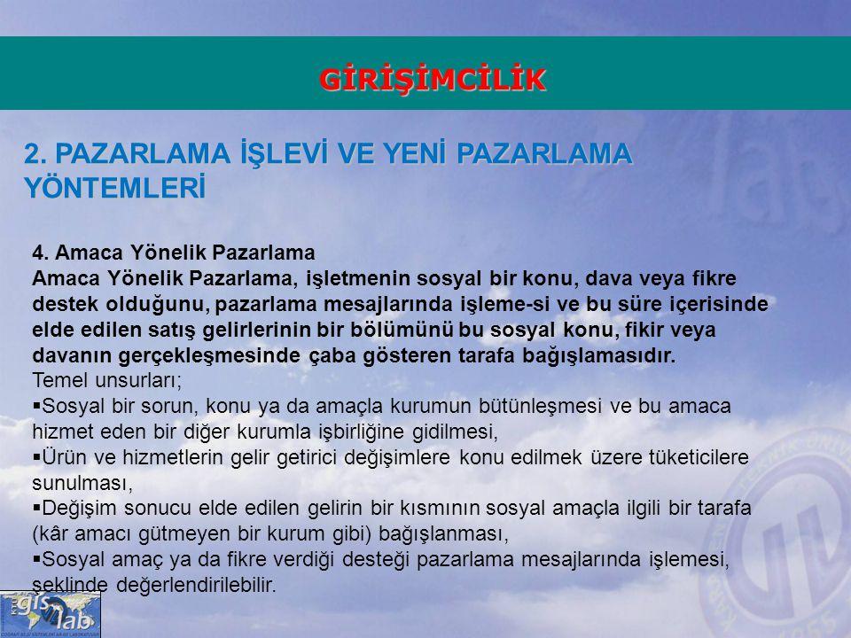 GİRİŞİMCİLİK 2.PAZARLAMA İŞLEVİ VE YENİ PAZARLAMA YÖNTEMLERİ 4.