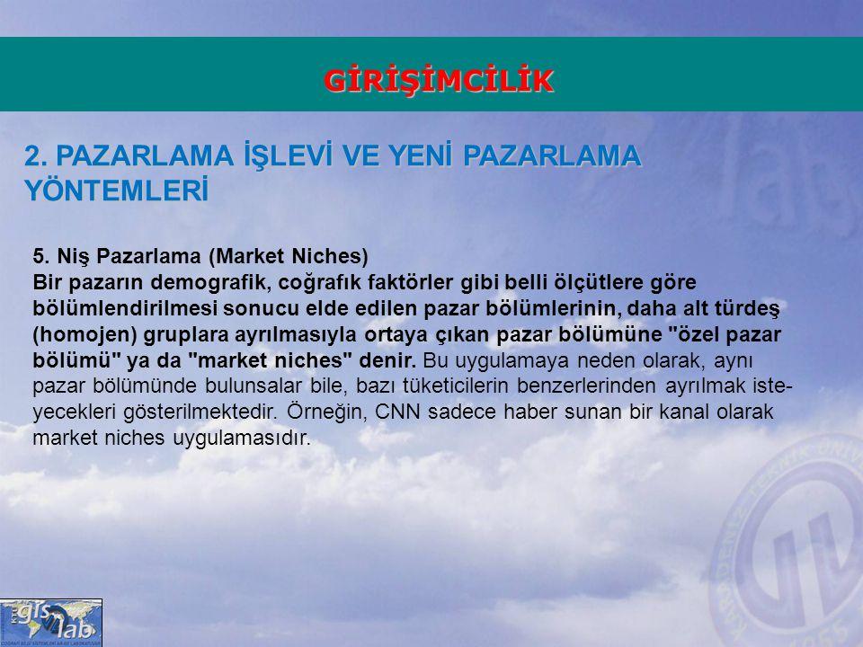 GİRİŞİMCİLİK 2.PAZARLAMA İŞLEVİ VE YENİ PAZARLAMA YÖNTEMLERİ 5.