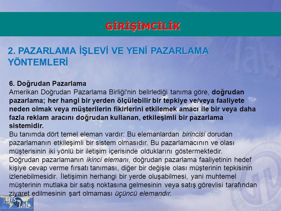 GİRİŞİMCİLİK 2.PAZARLAMA İŞLEVİ VE YENİ PAZARLAMA YÖNTEMLERİ 6.