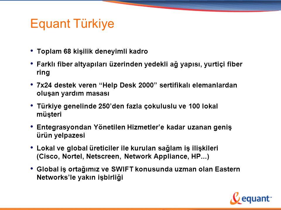"""Equant Türkiye • Toplam 68 kişilik deneyimli kadro • Farklı fiber altyapıları üzerinden yedekli ağ yapısı, yurtiçi fiber ring • 7x24 destek veren """"Hel"""