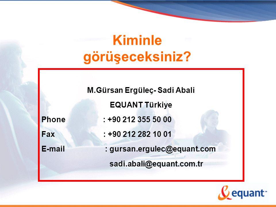 Kiminle görüşeceksiniz? M.Gürsan Ergüleç- Sadi Abali EQUANT Türkiye Phone : +90 212 355 50 00 Fax : +90 212 282 10 01 E-mail : gursan.ergulec@equant.c