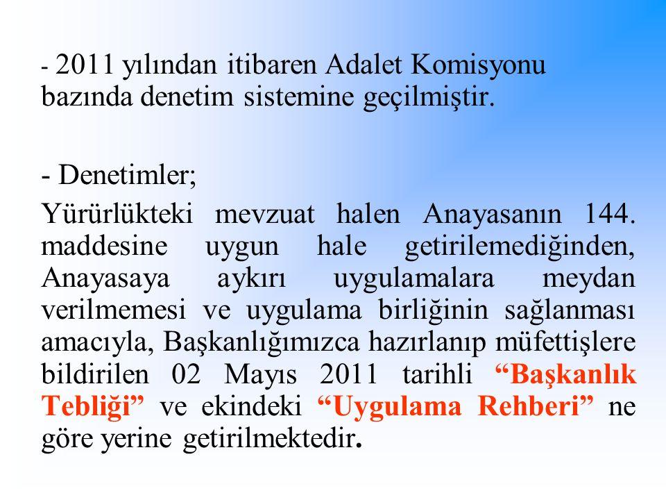 - 2011 yılından itibaren Adalet Komisyonu bazında denetim sistemine geçilmiştir. - Denetimler; Yürürlükteki mevzuat halen Anayasanın 144. maddesine uy