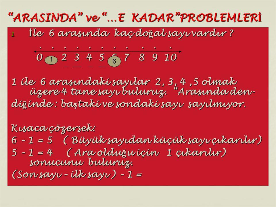"""""""ARASINDA"""" ve """"…E KADAR""""PROBLEMLER İ 1 İ le 6 arasında kaç do ğ al sayı vardır ?...................... 0 2 3 4 5 6 7 8 9 10 0 2 3 4 5 6 7 8 9 10 1 ile"""