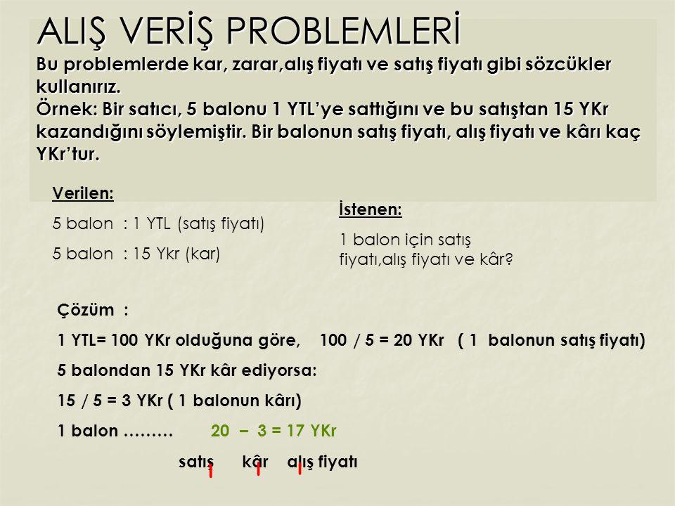 GRUPLAMAYLA ÇÖZÜLEN PROBLEMLER Örnek : 3 tanesi 9 YTL' ye alınan defterlerin 42 tanesi kaç YTL' ye alınır .