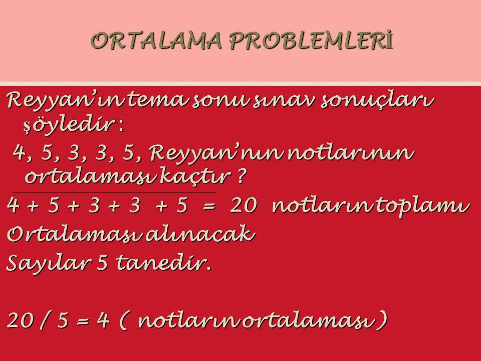 ORTALAMA PROBLEMLER İ Reyyan'ın tema sonu sınav sonuçları ş öyledir : 4, 5, 3, 3, 5, Reyyan'nın notlarının ortalaması kaçtır ? 4, 5, 3, 3, 5, Reyyan'n