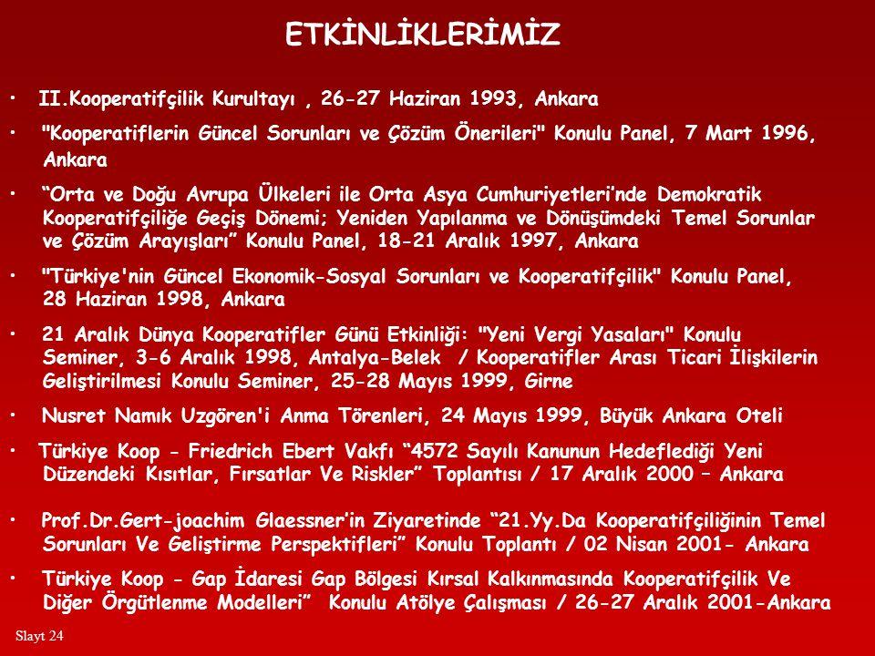 ETKİNLİKLERİMİZ • II.Kooperatifçilik Kurultayı, 26-27 Haziran 1993, Ankara • Kooperatiflerin Güncel Sorunları ve Çözüm Önerileri Konulu Panel, 7 Mart 1996, Ankara • Orta ve Doğu Avrupa Ülkeleri ile Orta Asya Cumhuriyetleri'nde Demokratik Kooperatifçiliğe Geçiş Dönemi; Yeniden Yapılanma ve Dönüşümdeki Temel Sorunlar ve Çözüm Arayışları Konulu Panel, 18-21 Aralık 1997, Ankara • Türkiye nin Güncel Ekonomik-Sosyal Sorunları ve Kooperatifçilik Konulu Panel, 28 Haziran 1998, Ankara • 21 Aralık Dünya Kooperatifler Günü Etkinliği: Yeni Vergi Yasaları Konulu Seminer, 3-6 Aralık 1998, Antalya-Belek / Kooperatifler Arası Ticari İlişkilerin Geliştirilmesi Konulu Seminer, 25-28 Mayıs 1999, Girne • Nusret Namık Uzgören i Anma Törenleri, 24 Mayıs 1999, Büyük Ankara Oteli • Türkiye Koop - Friedrich Ebert Vakfı 4572 Sayılı Kanunun Hedeflediği Yeni Düzendeki Kısıtlar, Fırsatlar Ve Riskler Toplantısı / 17 Aralık 2000 – Ankara • Prof.Dr.Gert-joachim Glaessner'in Ziyaretinde 21.Yy.Da Kooperatifçiliğinin Temel Sorunları Ve Geliştirme Perspektifleri Konulu Toplantı / 02 Nisan 2001- Ankara • Türkiye Koop - Gap İdaresi Gap Bölgesi Kırsal Kalkınmasında Kooperatifçilik Ve Diğer Örgütlenme Modelleri Konulu Atölye Çalışması / 26-27 Aralık 2001-Ankara Slayt 24