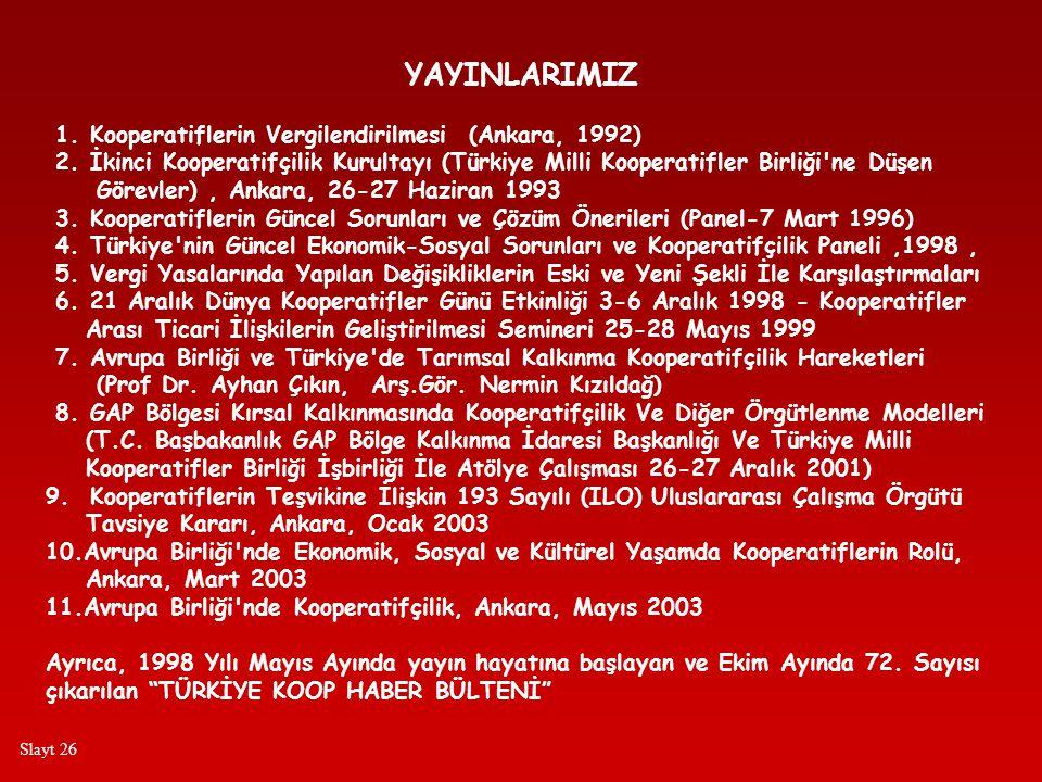 YAYINLARIMIZ 1.Kooperatiflerin Vergilendirilmesi (Ankara, 1992) 2.