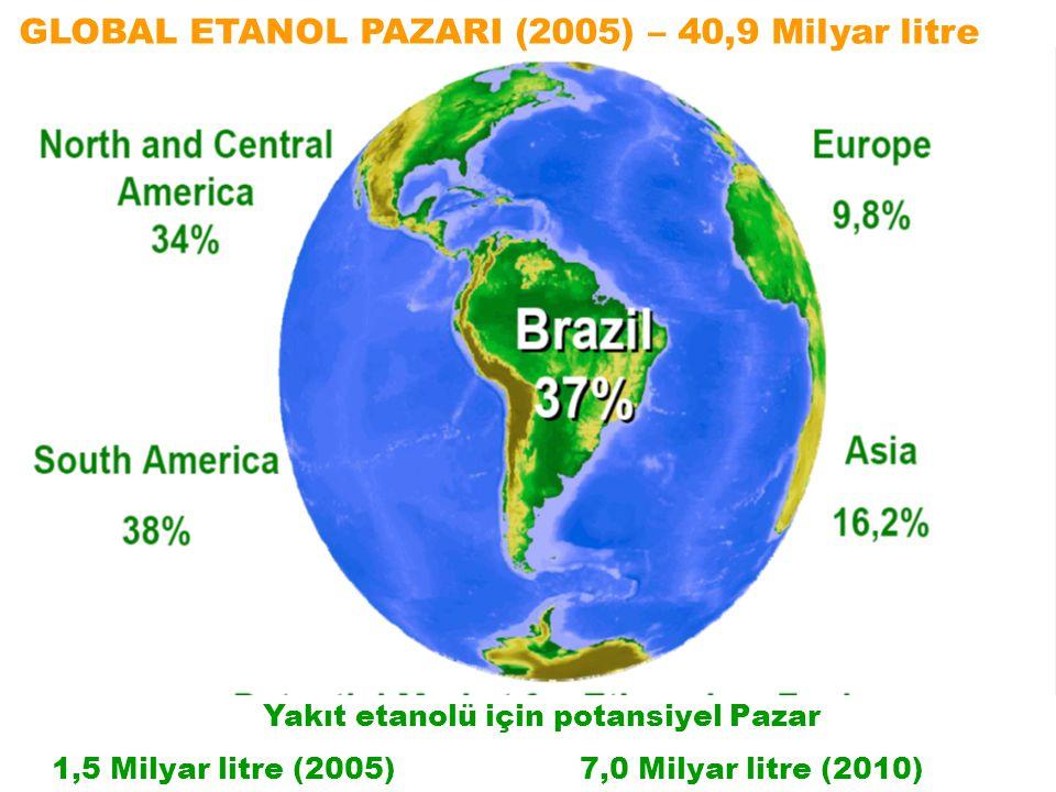 GLOBAL ETANOL PAZARI (2005) – 40,9 Milyar litre Yakıt etanolü için potansiyel Pazar 1,5 Milyar litre (2005)7,0 Milyar litre (2010)