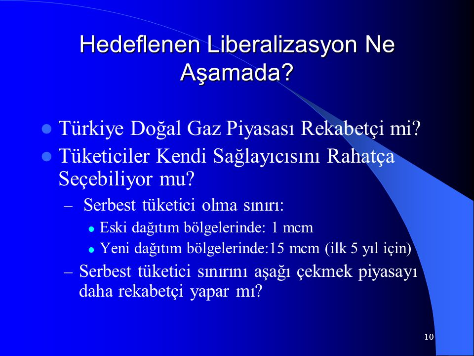 10 Hedeflenen Liberalizasyon Ne Aşamada?  Türkiye Doğal Gaz Piyasası Rekabetçi mi?  Tüketiciler Kendi Sağlayıcısını Rahatça Seçebiliyor mu? – Serbes