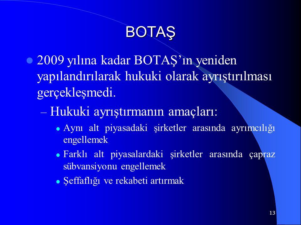 13 BOTAŞ  2009 yılına kadar BOTAŞ'ın yeniden yapılandırılarak hukuki olarak ayrıştırılması gerçekleşmedi. – Hukuki ayrıştırmanın amaçları:  Aynı alt