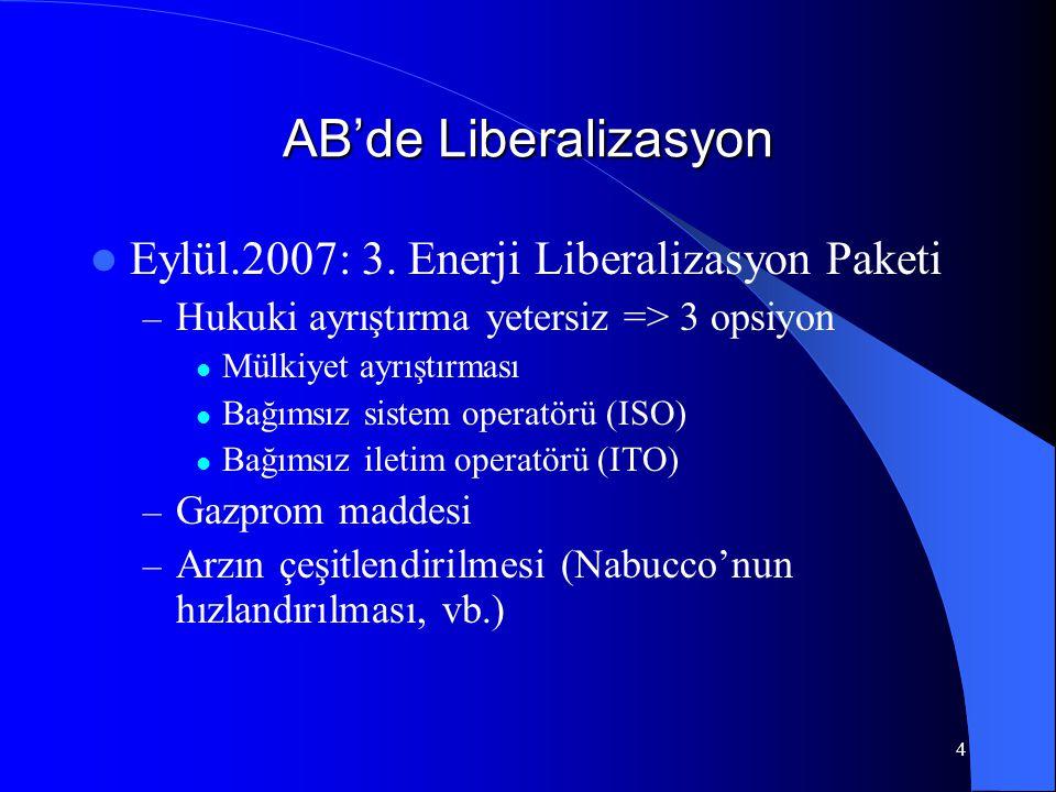4 AB'de Liberalizasyon  Eylül.2007: 3. Enerji Liberalizasyon Paketi – Hukuki ayrıştırma yetersiz => 3 opsiyon  Mülkiyet ayrıştırması  Bağımsız sist