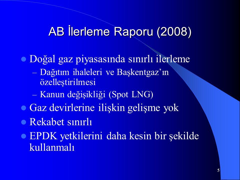 5 AB İlerleme Raporu (2008)  Doğal gaz piyasasında sınırlı ilerleme – Dağıtım ihaleleri ve Başkentgaz'ın özelleştirilmesi – Kanun değişikliği (Spot L