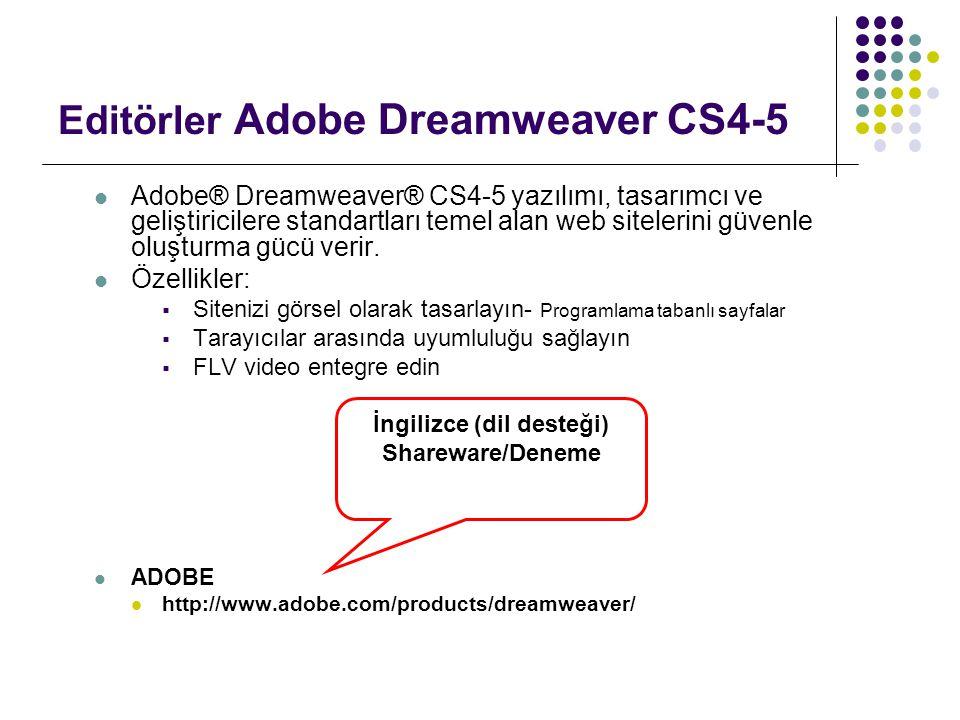 Editörler Adobe Dreamweaver CS4-5  Adobe® Dreamweaver® CS4-5 yazılımı, tasarımcı ve geliştiricilere standartları temel alan web sitelerini güvenle ol