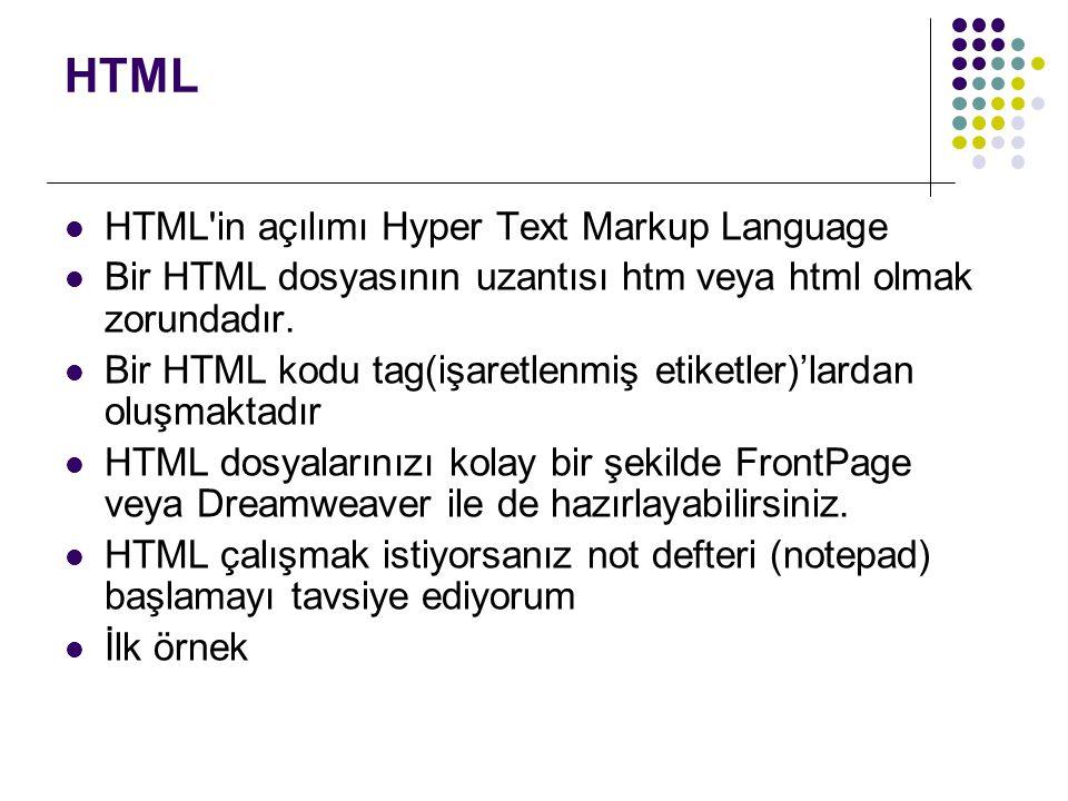 HTML  HTML'in açılımı Hyper Text Markup Language  Bir HTML dosyasının uzantısı htm veya html olmak zorundadır.  Bir HTML kodu tag(işaretlenmiş etik