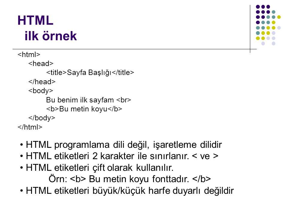 HTML ilk örnek Sayfa Başlığı Bu benim ilk sayfam Bu metin koyu • HTML programlama dili değil, işaretleme dilidir • HTML etiketleri 2 karakter ile sını