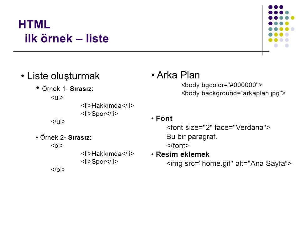 HTML ilk örnek – liste • Liste oluşturmak • Örnek 1- Sırasız: Hakkımda Spor • Örnek 2- Sırasız: Hakkımda Spor • Arka Plan • Font Bu bir paragraf. • Re