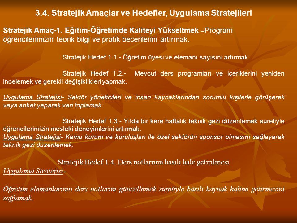 3.4. Stratejik Amaçlar ve Hedefler, Uygulama Stratejileri Stratejik Amaç-1. Eğitim-Öğretimde Kaliteyi Yükseltmek – Program öğrencilerimizin teorik bil