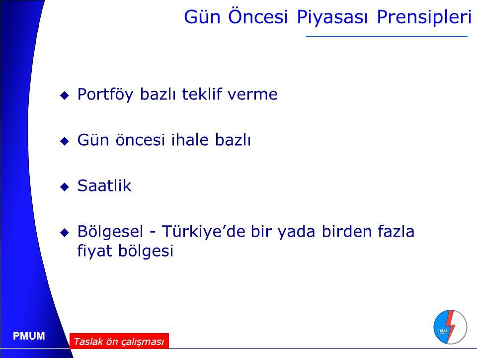 PMUM  Portföy bazlı teklif verme  Gün öncesi ihale bazlı  Saatlik  Bölgesel - Türkiye'de bir yada birden fazla fiyat bölgesi Gün Öncesi Piyasası Prensipleri Taslak ön çalışması