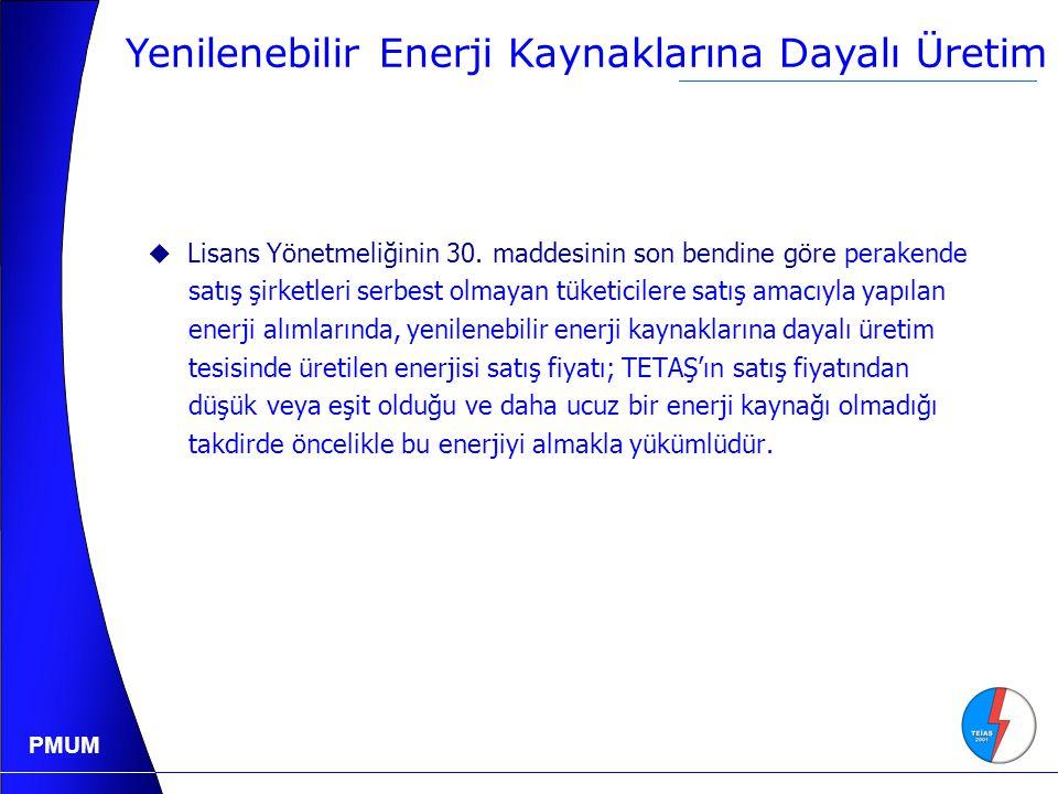 PMUM Yenilenebilir Enerji Kaynaklarına Dayalı Üretim  Lisans Yönetmeliğinin 30.