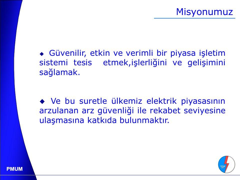 PMUM Sanal Uygulama  Elektrik Piyasası Dengeleme ve Uzlaştırma Yönetmeliği'nin sanal uygulaması, 8 Kasım 2004 günü, saat 00:00 itibariyle başlatılmıştır.