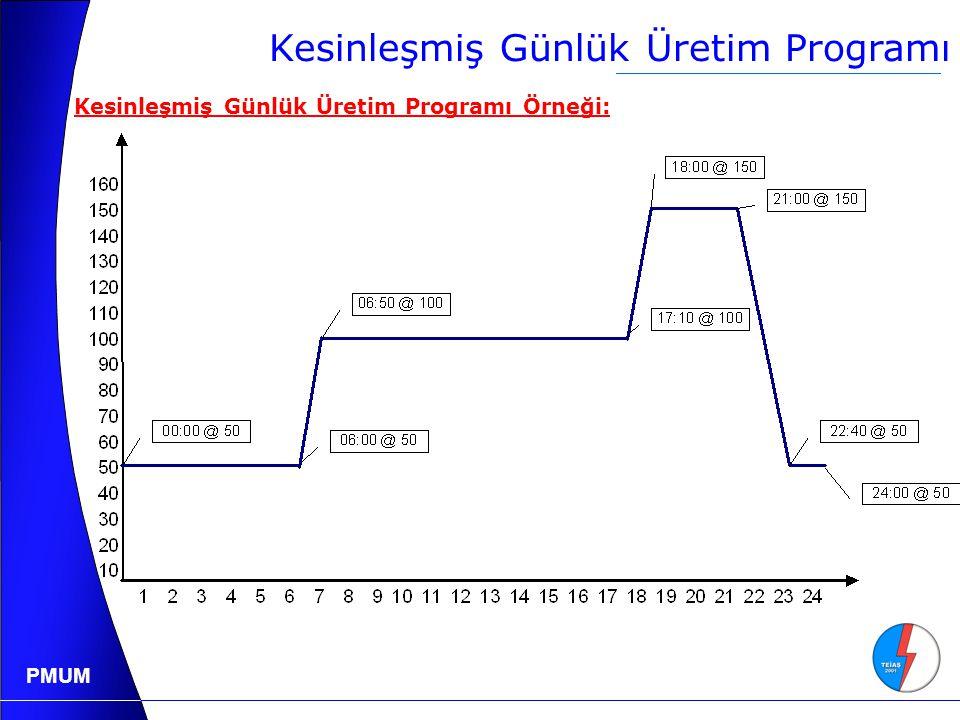 PMUM Kesinleşmiş Günlük Üretim Programı Kesinleşmiş Günlük Üretim Programı Örneği: