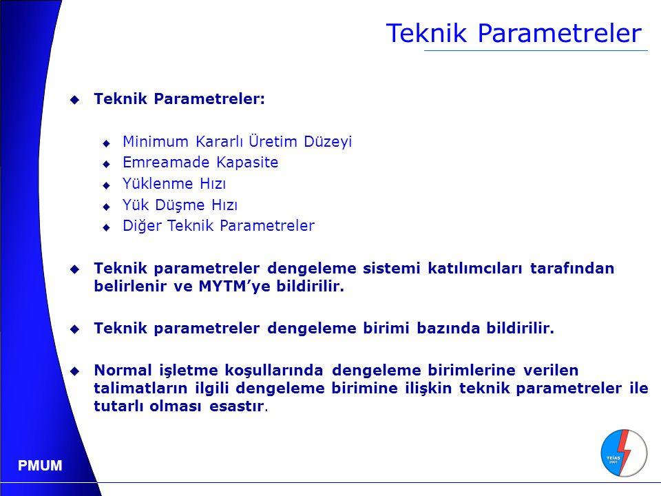 PMUM Teknik Parametreler  Teknik Parametreler:  Minimum Kararlı Üretim Düzeyi  Emreamade Kapasite  Yüklenme Hızı  Yük Düşme Hızı  Diğer Teknik Parametreler  Teknik parametreler dengeleme sistemi katılımcıları tarafından belirlenir ve MYTM'ye bildirilir.