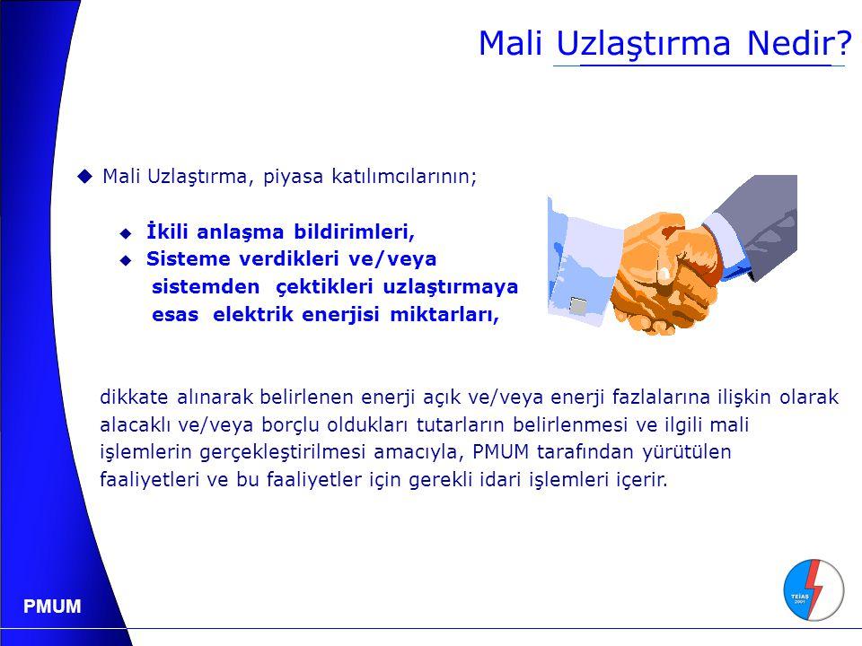 PMUM Tüketim Tarafının Piyasaya Katılmasının Yararı 2004 Yılı Ani puant: 23.485 MW Marjinal Maliyet: 65.0 YTL/MWh Türkiye'de tüketim tarafı fiyata tepki vermek suretiyle %10'lık talep azaltması toptan satış elektrik fiyatını en az %25 oranında indirebilir.