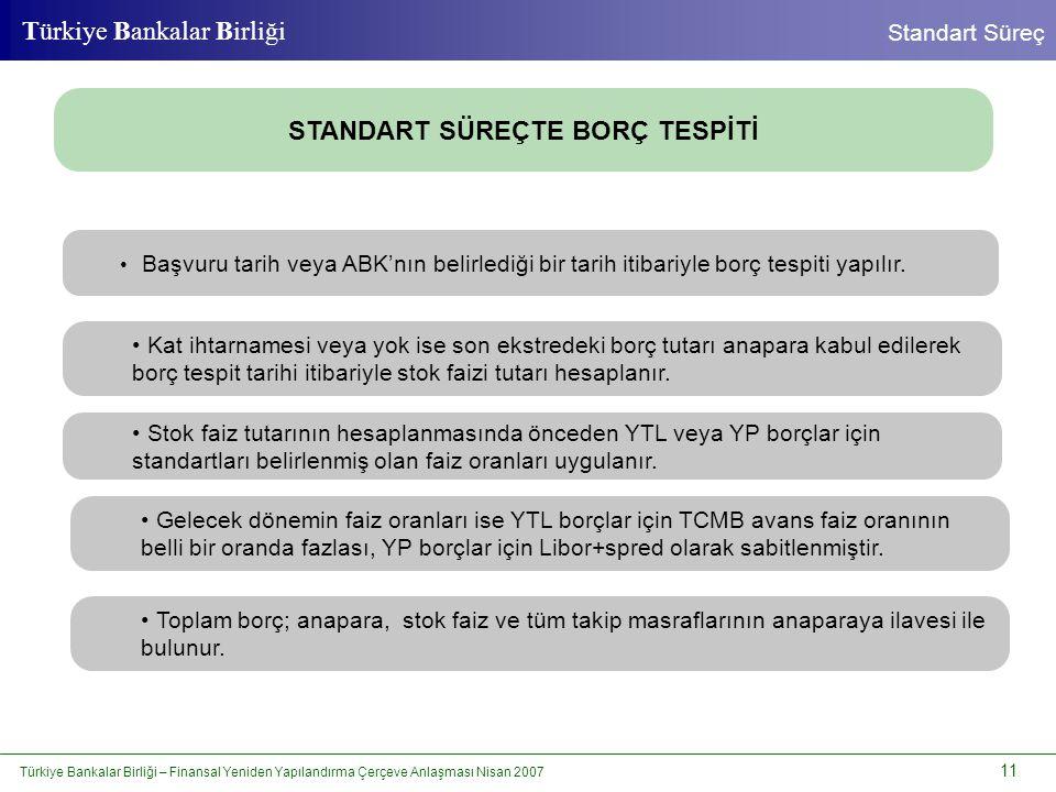 Türkiye Bankalar Birliği – Finansal Yeniden Yapılandırma Çerçeve Anlaşması Nisan 2007 11 Türkiye Bankalar Birliği Standart Süreç STANDART SÜREÇTE BORÇ