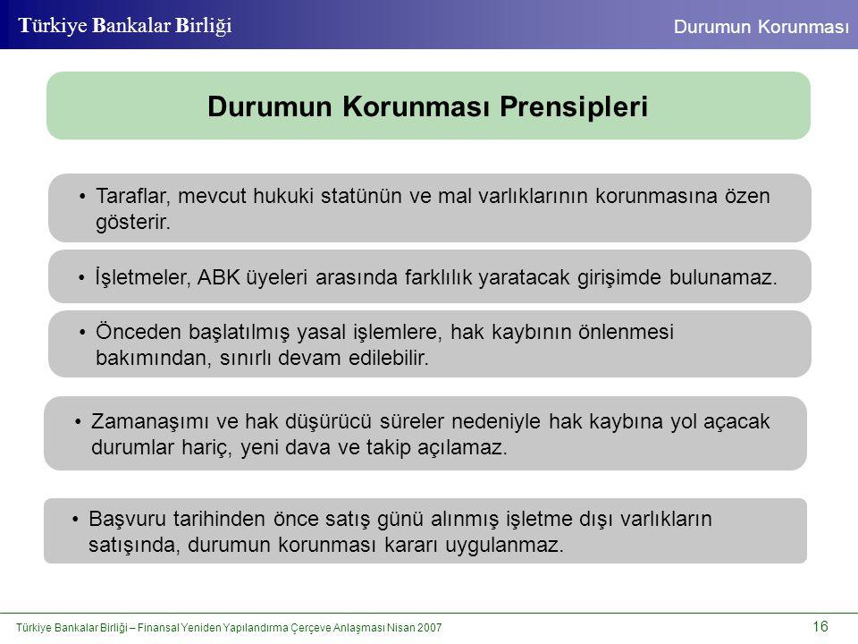 Türkiye Bankalar Birliği – Finansal Yeniden Yapılandırma Çerçeve Anlaşması Nisan 2007 16 Türkiye Bankalar Birliği Durumun Korunması •Taraflar, mevcut