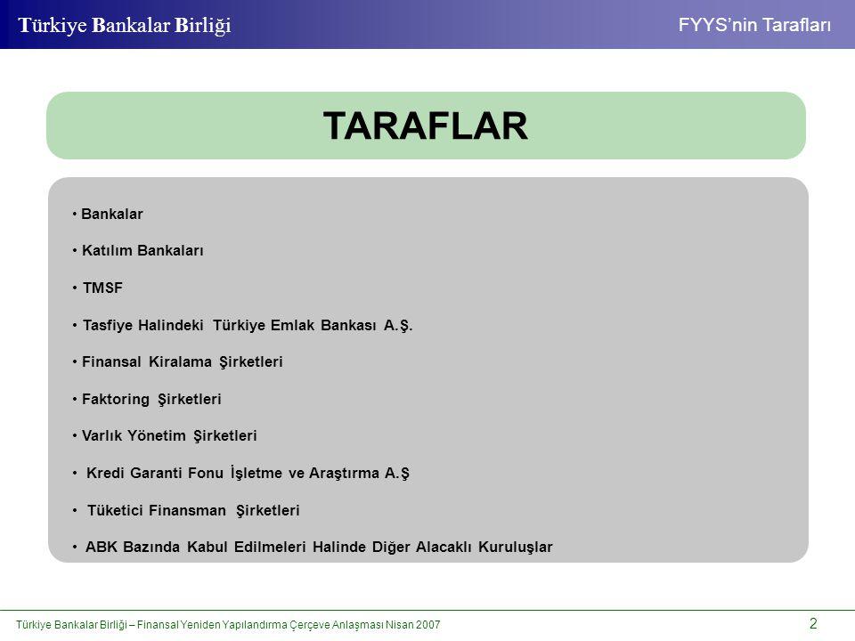 Türkiye Bankalar Birliği – Finansal Yeniden Yapılandırma Çerçeve Anlaşması Nisan 2007 13 Türkiye Bankalar Birliği Standart Süreç STANDART SÜREÇTE PEŞİN ÖDEME OLANAKLARI • Toplam borcun YTL olarak 1/3'ünün peşin; bakiyesinin ise, işleyen 3 ay içerisinde TCMB avans faiz oranı işletilerek ödenmesi halinde, stok faizinden %50 oranında indirim yapılır.