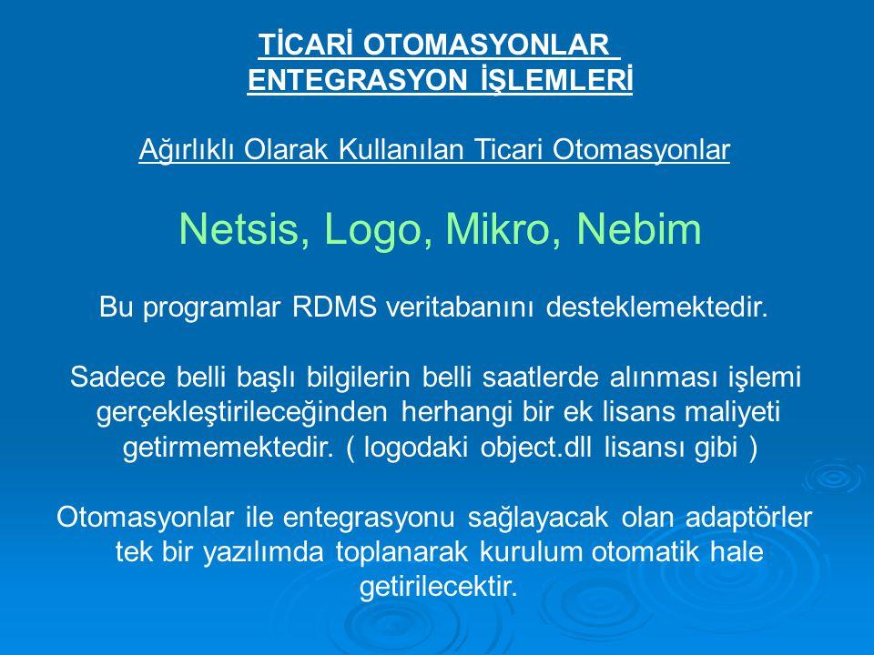 TİCARİ OTOMASYONLAR ENTEGRASYON İŞLEMLERİ Ağırlıklı Olarak Kullanılan Ticari Otomasyonlar Netsis, Logo, Mikro, Nebim Bu programlar RDMS veritabanını d