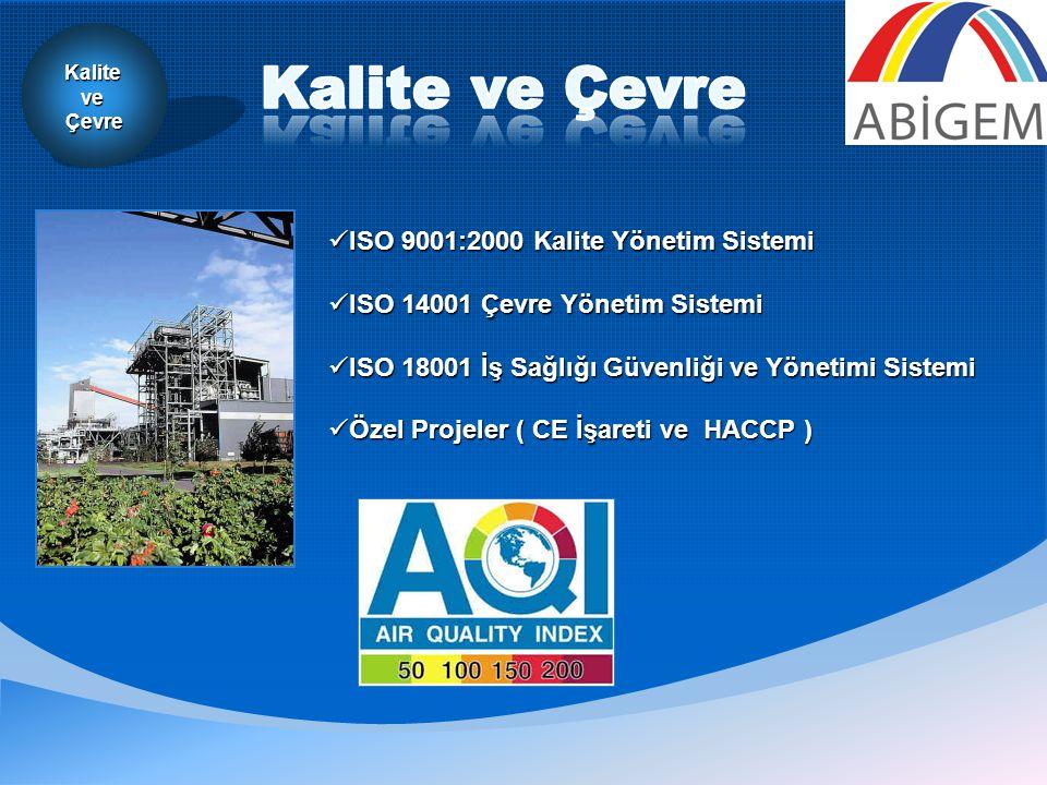 KaliteveÇevre  ISO 9001:2000 Kalite Yönetim Sistemi  ISO 14001 Çevre Yönetim Sistemi  ISO 18001 İş Sağlığı Güvenliği ve Yönetimi Sistemi  Özel Projeler ( CE İşareti ve HACCP )