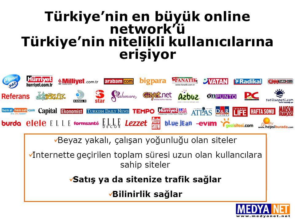 Türkiye'nin en büyük online network'ü Türkiye'nin nitelikli kullanıcılarına erişiyor Ayda 26 milyon, Günde 1.8 milyon tekil ziyaretçi ile aktif Türkiy