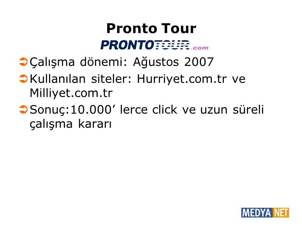 Pronto Tour  Çalışma dönemi: Ağustos 2007  Kullanılan siteler: Hurriyet.com.tr ve Milliyet.com.tr  Sonuç:10.000' lerce click ve uzun süreli çalışma