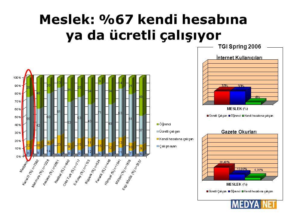 Meslek: %67 kendi hesabına ya da ücretli çalışıyor TGI Spring 2006 Gazete Okurları İnternet Kullanıcıları