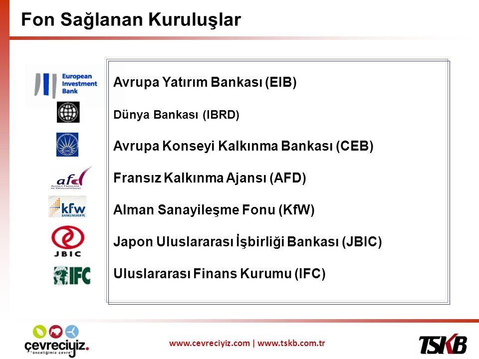 www.cevreciyiz.com | www.tskb.com.tr Fon Sağlanan Kuruluşlar Avrupa Yatırım Bankası (EIB) Dünya Bankası (IBRD) Avrupa Konseyi Kalkınma Bankası (CEB) Fransız Kalkınma Ajansı (AFD) Alman Sanayileşme Fonu (KfW) Japon Uluslararası İşbirliği Bankası (JBIC) Uluslararası Finans Kurumu (IFC)