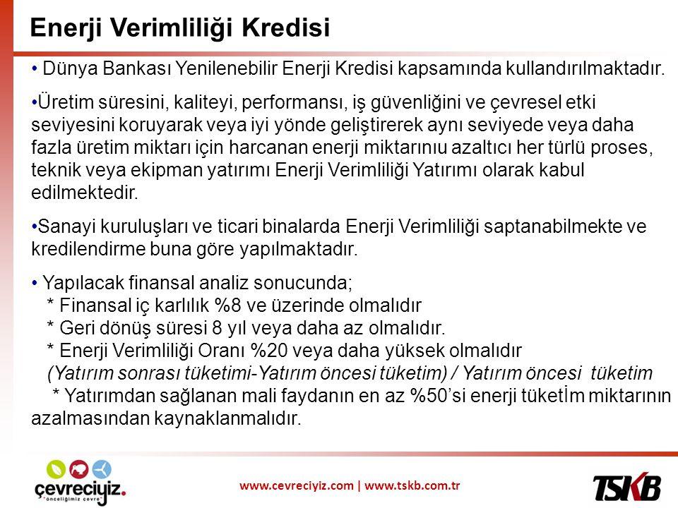 www.cevreciyiz.com | www.tskb.com.tr • Dünya Bankası Yenilenebilir Enerji Kredisi kapsamında kullandırılmaktadır.