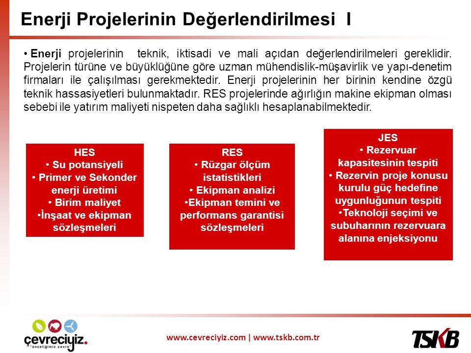 www.cevreciyiz.com | www.tskb.com.tr Enerji Projelerinin Değerlendirilmesi II Projeler, birden fazla senaryo çalışması yapılarak analiz edilmektedir.