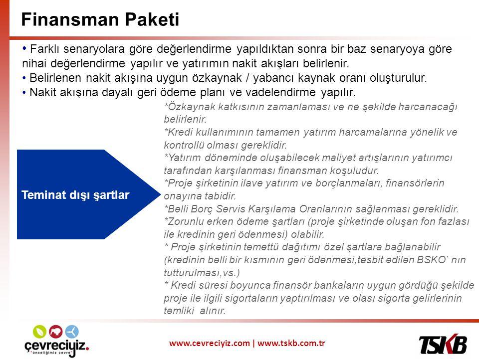 www.cevreciyiz.com | www.tskb.com.tr Teminat Yapısı Proje Finansmanı İlkesi Kapsamında Sektörde özelleştirme ve dönüşüm süreci sonucunda, uzun vadeli alım- satım sözleşmelerinin oluşması, orta vadeli finansmanı kolaylaştıracaktır.